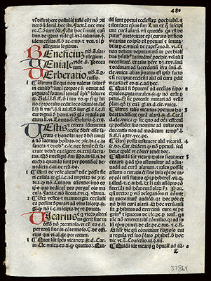 Incunable Leaf 1492 Summa Angelica or Moral Theology 8 Hand-Colored Letters