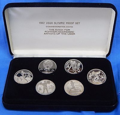 1991 Russia CCCP USSR 1992 Olympic Six Coin Proof Set Original Box 6395