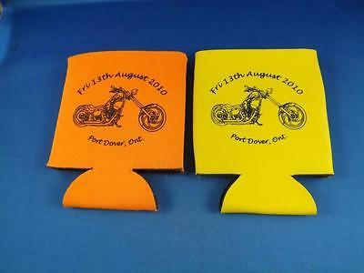 BIKER BASH FRIDAY 13th PORT DOVER CANADA BEER BOTTLE CAN COZY LOT 2 MOTORCYCLE