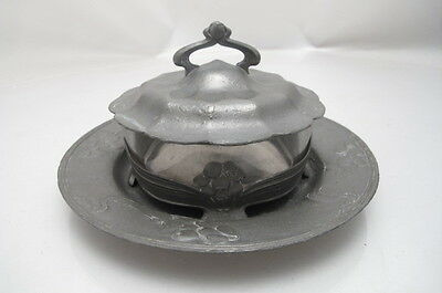 Antique Art Nouveau Orivit 2126 Pewter Lidded Dish + Matching Stand