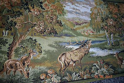 French  Old Tapestry  Stags  In Forest Great For Project