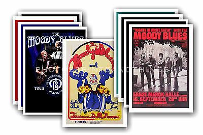 MOODY BLUES  - 10 promotional posters  collectable postcard set # 1