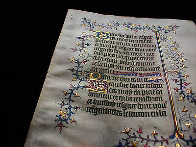 """1370 Medieval Vellum, AMAZING Latin Leaf """"GOLD RAMIFICATIONS"""" Book of Hours..B57"""