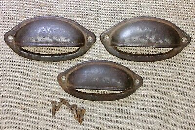 "3 Bin Drawer Pulls handles smooth rustic 3 3/4"" old antique vintage rusty shabby"