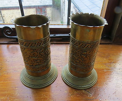 Antique Pair Of Victorian Brass Vases - Impressed T & T