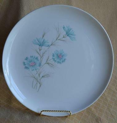 "4 blue boutonniere dinner plates dishes 10.25"" Ever Yours Taylor Smith 1960's"