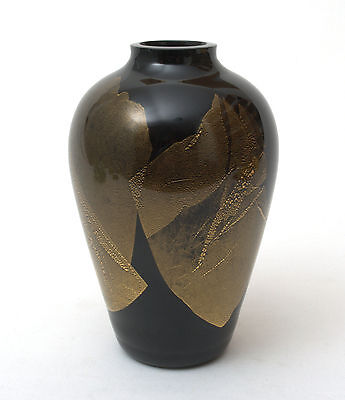 Stuart Strathearn Glass Ebony & Gold Large Art Glass Vase by Iestyn Davies