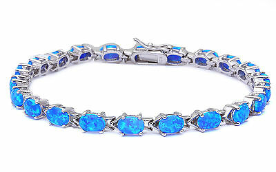 BEAUTIFUL OVAL CUT BLUE FIRE OPAL .925 Sterling Silver Bracelet 7.5""