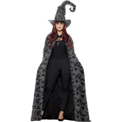 Adult Grey Long Cape With Hood Unisex Spellcaster Fancy Dress