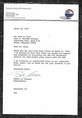 ABA Letter Signed by Commissioner Robert Carlson American Basketball Association