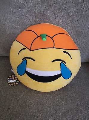 Plush Emoji Pillow Face  With Tears Of Joy With Pumpkin Head Nwt