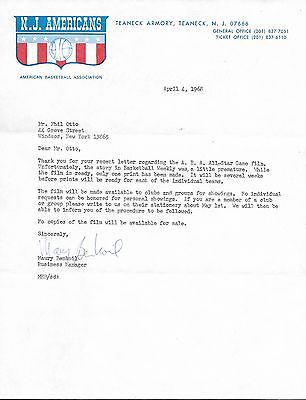ABA Letter - N.J. Americans stationary American Basketball Association Early ABA