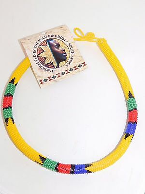 ZULU Traditional South African Beaded Choker Necklace Nwt yellow  #9