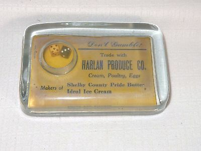 Vintage Advertising Glass Paperweight Ideal Ice Cream Gambler Dice