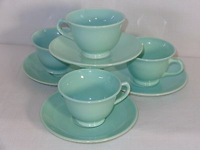 Vintage Luray LuRay Pastels China Green Cups & Saucers (4 Sets)