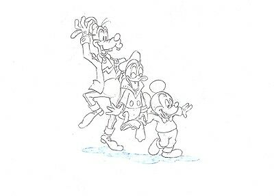 Mickey Mouse Donald Goofy Disney Careers production animation cell drawing COA 2