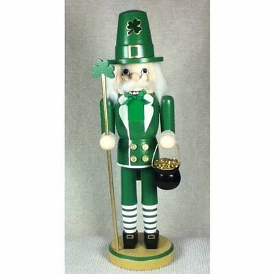 Irish Leprechaun with Pot of Gold Wood Nutcracker 14 inch St Patrick Decoration