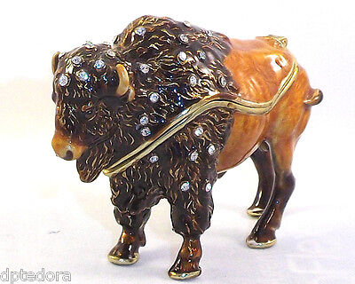 Bison Pewter Bejeweled Hinged Trinket / Jewelry /  Pill Box