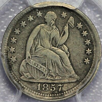 Liberty Seated 1857 Half Dime Rotated Die PCGS VF30