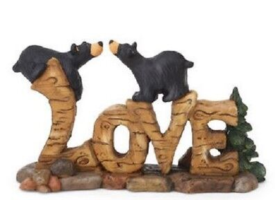Bearfoots Black Bears on Love Word Plaque Collectible Figurine by Jeff Fleming