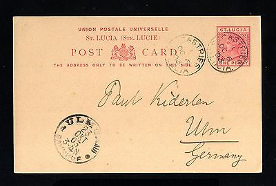 16405-ST.LUCIA-OLD POSTCARD CASTRIES to ULM (germany) 1903.British.Santa Lucia.