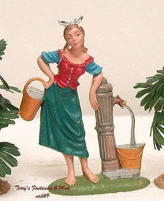 "Fontanini Depose Italy 4"" Color Girl At Water Pump Nativity Village Figure New"