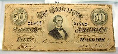 1864 $50 Fifty Dollar Confederate Note / Currency T-66 #c7