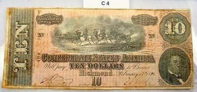 1864 $10 Ten Dollar Confederate Note / Currency T-68 #c4