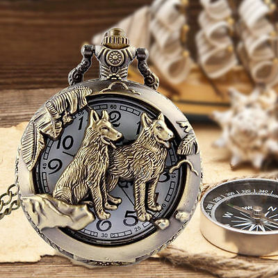 Unisex Vintage Pocket Watch Pendant Old-fashioned Retro  Bronze With Chain watch
