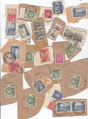 Stamps Australia group of 29 pre-decimal still on piece some Late Fee postmarks