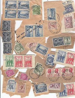 Stamps Australia group of 38 pre-decimal still on piece some Late Fee postmarks
