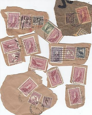 Stamps Australia group of 20 robes issue including 10/- violet still on piece