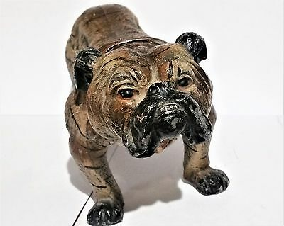 Vintage Cast Iron BLUE BRINDLE ENGLISH BULLDOG Statue Doorstop Outstanding