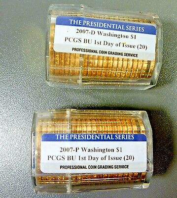2007 P & D ROLL Washington Presidential $1 Dollar Set First Day Of Issue PCGS