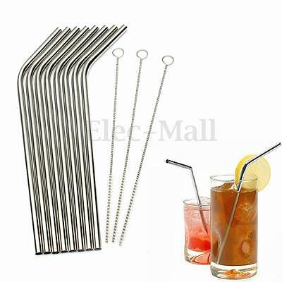 8 Pcs Stainless Steel Metal Cocktail Drinking Straw Straws + 3 Cleaner Brush Kit