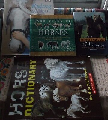 Lot of 4 INFORMATIVE HORSE Books - A to Z Horses, Body Language, 1000 Facts