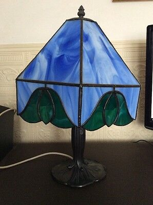 Art Nouveau Lily Base with Tiffany Style Blue Stained Glass Shade   (K)