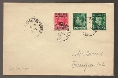 1938 Morocco Agencies Overprint Stamps Last Day British Agencies Cover # 1