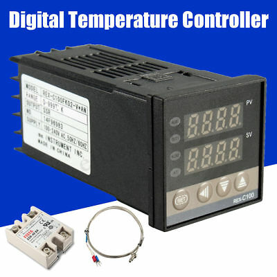 Digital PID Temperature Controller 100-240V  + 40A SSR + K Thermocouple 0-999℃