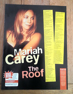 MARIAH CAREY 'The Roof' lyrics magazine PHOTO/Poster/clipping 11x8 inches