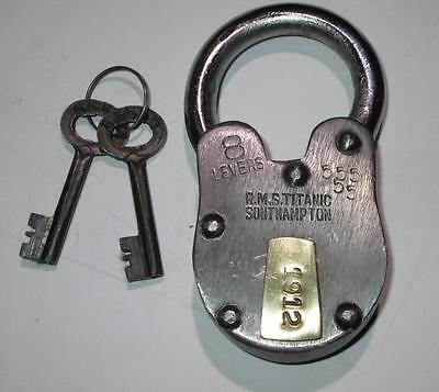 Antique Style 1912 RMS Titanic Padlock w/ Skeleton Key Lock Heavy Duty Nice
