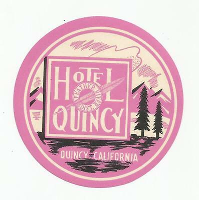 HOTEL QUINCY luggage USA label (CALIFORNIA)