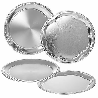 Silver Effect Polished Round Serving Tray Dinner Platter Tableware Drinks Tea