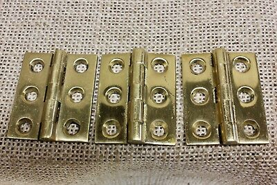 "3 Cabinet door hinges BUTT vintage polished brass 1 1/2 x 1 1/4"" shutter"