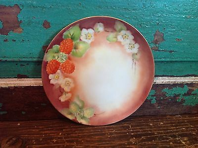 Antique Hand Painted Porcelain Plate, Signed M B Taylor, Strawberries, Flowers