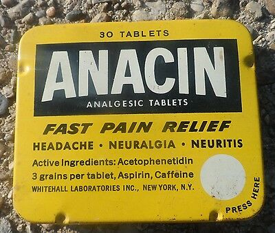 Anacin Pain Relief Aspirin Style Advertising Tin 30 Tablets Empty Pre Zip Codes