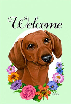 Large Indoor/Outdoor Welcome Flag (Flowers) - Red Dachshund 63039