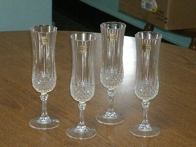 CRISTAL D'ARQUES FOUR FLUTE  CHAMPAGNE GLASSES 24% LEAD CRYSTAL w/LABEL-NEW