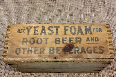old wood box YEAST FOAM for ROOT BEER Health dovetailed vintage shipping crate