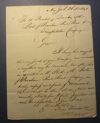 1841 - BOSTON & PROVIDENCE RAILROAD - Letter Document to President & Directors